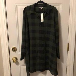 NWT Green and Black Plaid Shirt Dress
